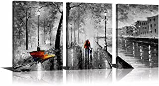 YPY 3 Panel Palette Knife Oil Paintings Abstract Modern City Street View Cityscape Building Artwork Walking Wall Art for Living Room (Black, 16x24in)