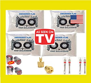 Tire Balancing Beads 4-6oz Bags, 24 Ounce Tire Balancing Beads Kit, Filtered Valve Cores, Chrome Caps Included with DIY Tire Beads
