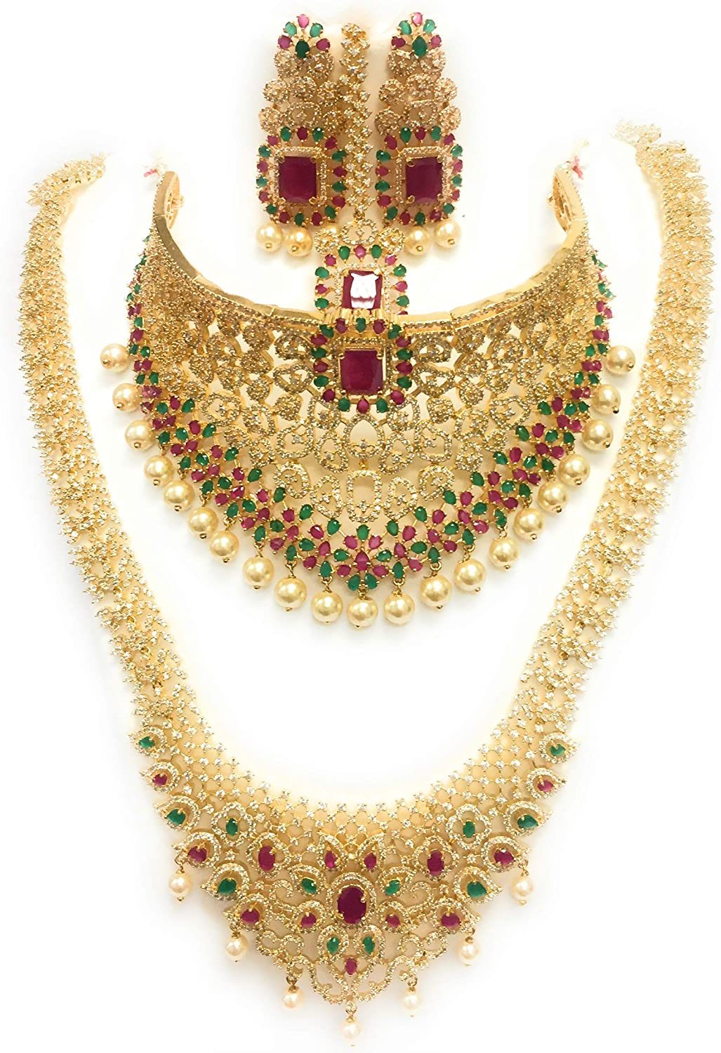 Bollywood Ethnic Gold Plated Rubies Green Stones Indian Fashion Bridal Jewelry Necklace Earring Set for Women