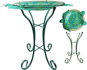 """Comfy Hour 22"""" Green Metal Art Turtle Top Birdbath Garden Decor"""