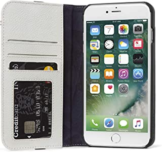 DECODED Wallet Case for iPhone 8 Plus / 7 Plus / 6s Plus / 6 Plus Full-Grain Leather 3 Card Holder (White Grey)