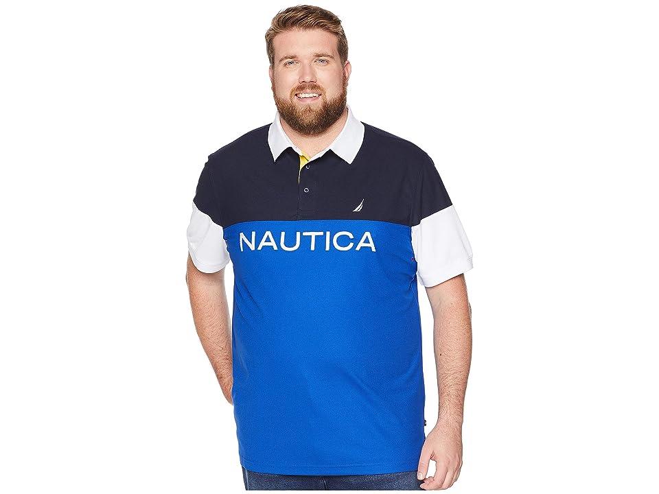 Nautica Big & Tall Big Tall Blocked Polo Shirt (Bright Cobalt) Men