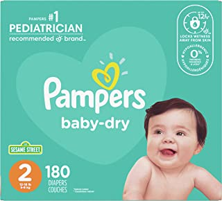 Diapers Size 2 - Pampers Baby Dry Disposable Baby Diapers, 180 Count, Super Economy Pack (Packaging May Vary)