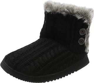 Dearfoams Cable Knit Two-Button Boot, Pantofole a Collo Alto Donna