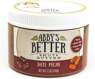 Date Pecan Nut Butter, 12 Ounce Jar- An All Natural, 3 Ingredient, Gluten-Free, Peanut Free, Protein Rich, Vegan Friendly ...