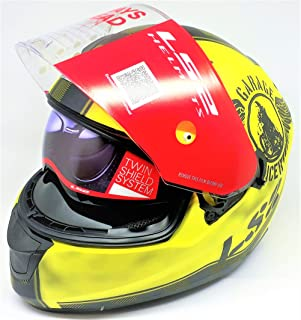 LS2 Helmets - FF320 – Stream – Garage Matt Yellow Black Dual Visor Full Face Motorcycle Helmet (Size: L – 58 cm)