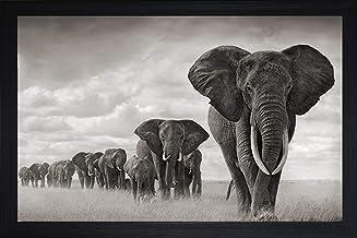 SAF Elephants Large Framed UV Digital Reprint (Synthetic, 14 x 20-inch) SANFMM7989