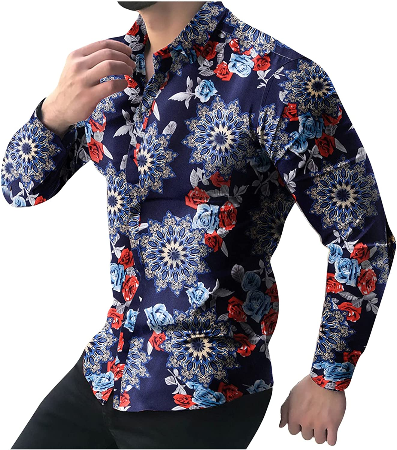 Casual Dress Shirt for Men's Rose Flower Printed Summer Fashion Slim fit Long Sleeve Button-Down Shirt