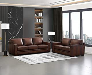 Hydeline Dillon 100% Leather Sofa Set (Sofa, Loveseat, Brown)