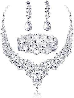 Udalyn Conjunto de joyas de cristal para novia, collar y pendientes, pulsera para boda, con diamantes de imitación, regalo...