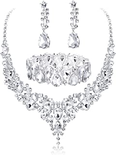 Crystal Bridal Jewelry Sets for Women Necklace Earrings Bracelet Set for Wedding Rhinestone Bridesmaid Gifts fit with Wedding Dress