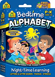 School Zone - Bedtime Alphabet Interactive Flash Cards - Ages 3 to 6, Preschool and Kindergarten, Shadow Art, Letters, Letter Sounds, Stencils, Shapes, Mini Flashlight Included (Write on Learning)