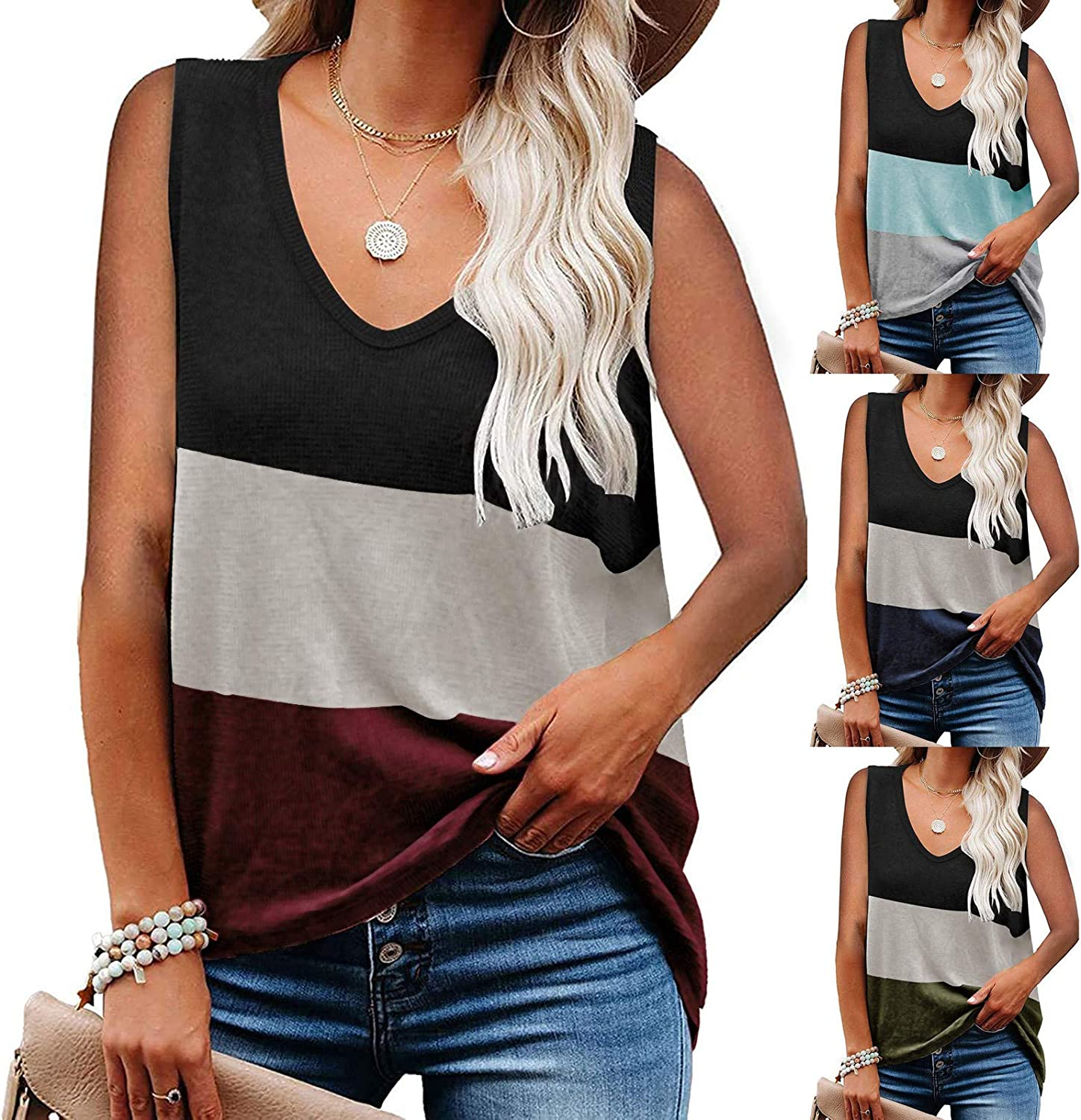 GKASA Womens Camisole Tank Tops Stitching Collision Colorful Vest V-Neck Tee Fashion Casual Loose Fit Blouse