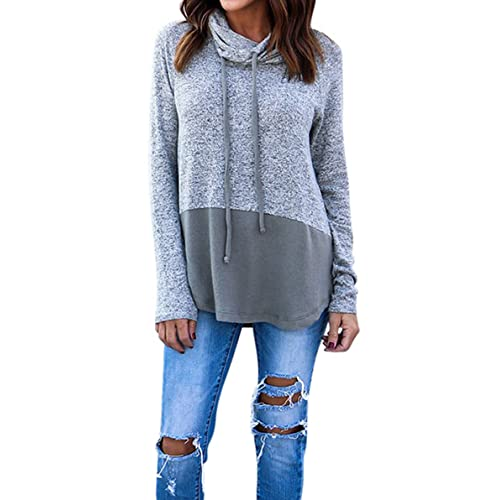 4a467b6631 Hibluco Women s Cowl Neck Long Sleeve Pullover Sweater Blouse Knit Tops