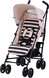 My Babiie US01 Sand Stripe Baby Stroller – Lightweight Baby Stroller with Carry Handle – Silver Frame and Sand Stripe – Lightweight Travel Stroller – Stylish Umbrella – Babies from Birth – 33 lbs