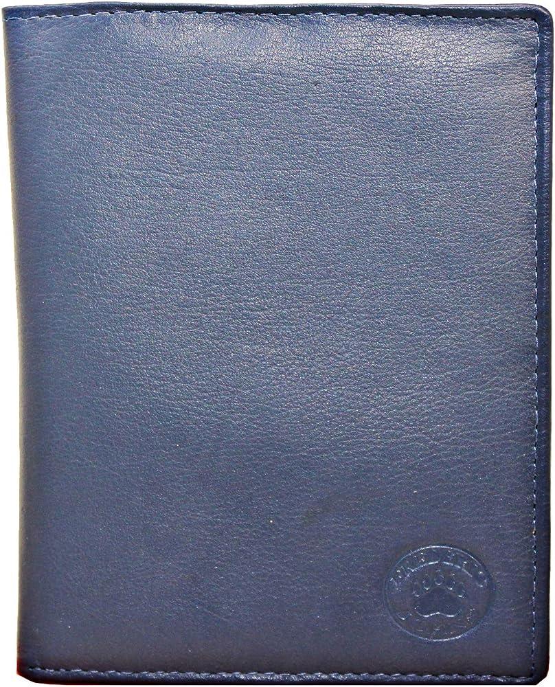 Frédéric & johns, portafoglio, portadocumenti, porta carte di credito unisex, in vera pelle, blu