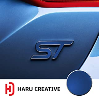 Haru Creative - Front Grille Hood Rear Trunk Emblem Letter Insert Overlay Vinyl Decal Sticker Compatible with and Ford Focus ST 2013-2019 - Metallic Matte Chrome Blue