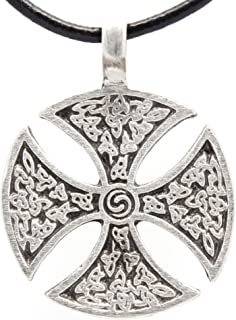 Trilogy jewelry Pewter Iron Cross Celtic Templar Knight Pendant on Leather Necklace