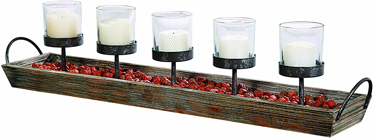 Amazon Com Creative Co Op 5 Metal Votive Candle Holders In Rectangle Wood Tray With Handles Home Kitchen