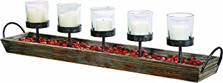 Creative Co-op 5 Metal Votive Candle Holders in Rectangle Wood Tray with Handles