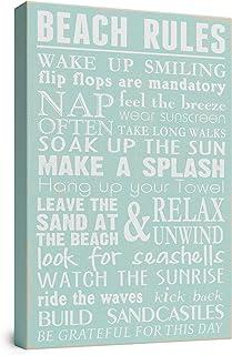 "Beach Rules Wooden Box Wall Sign Beach House Decor Sign 12"" x 8"" By Barnyard Designs"