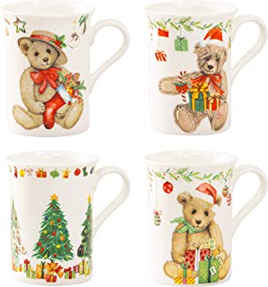 Grace Teaware Bone China Coffee Tea Mugs 9-Ounce, Assorted Set of 4 (Christmas Tree Teddy Bear Gifts)