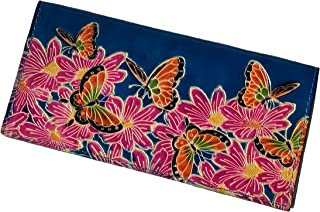 BPLeathercraft Genuine Leather Checkbook Cover, the World of Flowers & Butterflies Pattern Embossed. (Blue)