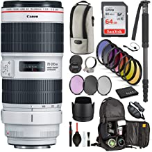 Canon EF 70-200mm f/2.8L is III USM Lens (3044C002) with Professional Bundle Package Kit for Canon EOS Includes: DSLR Sling Backpack, 9PC Filter Kit, Sandisk 64GB SD + More