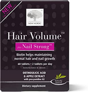 New Nordic Hair Volume Plus Nail Strong, 60 Tablets Hair & Nails Supplement, Biotin & Naturally Sourced Ingredients