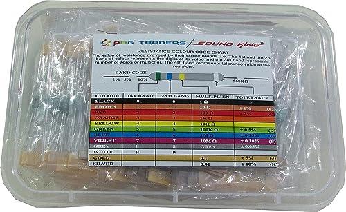 SOUND KING (Mix brand)2500 Pcs 50 Values Assorted Mixed Carbon film Resistors lot 5% 0.25W Resistor kit