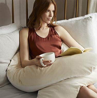 Yana Sleep Pillow | Luxury Body & Pregnancy Pillow - Organic Bamboo Cotton - All Natural Fill - Ergonomic Design - Double