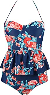 Women's Retro Antigua Floral Peplum Push Up High Waist Bikini Set Chic Swimsuit(FBA)