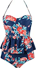 COCOSHIP Women's Retro Antigua Floral Peplum Push Up High Waist Bikini Set Chic Swimsuit(FBA)