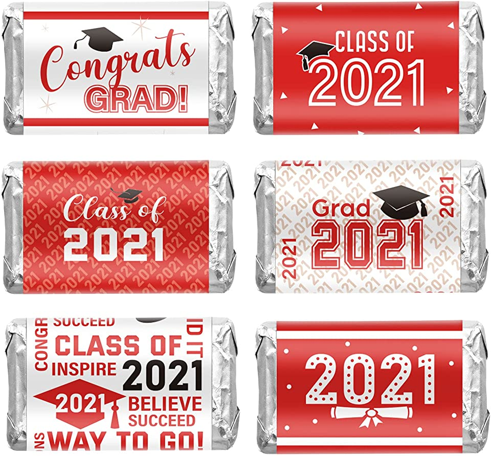 Outus 90 Pieces 2021 Graduation Decoration Label Sticker Congrats Mini Candy Bar Wrapper Class of 2021 Party Supply for High School, College, Nursing, Doctorate Graduation Celebration (Red and White)