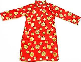 Ao Dai, Vietnamese Traditional Dress for Children - Red Silk Aodai/Size#14 - AODAIRED14