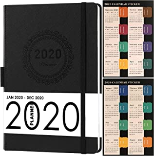 2020 Planner, Weekly/Monthly Planner, Saffiano Leather with Thick Paper, Back Pocket with..