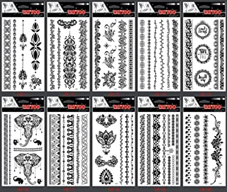 GGSELL GGSELL look like real temporary tattoos 10pcs Black Indian Tribal style Jewelry fake tattoo stickers in a packages,including jewelry lace,elephants,flowers,butterflies,etc.