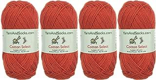 Cotton Select Sport Weight Yarn - 100% Fine Cotton - 4 Skeins - Col 407 - Burnt Orange