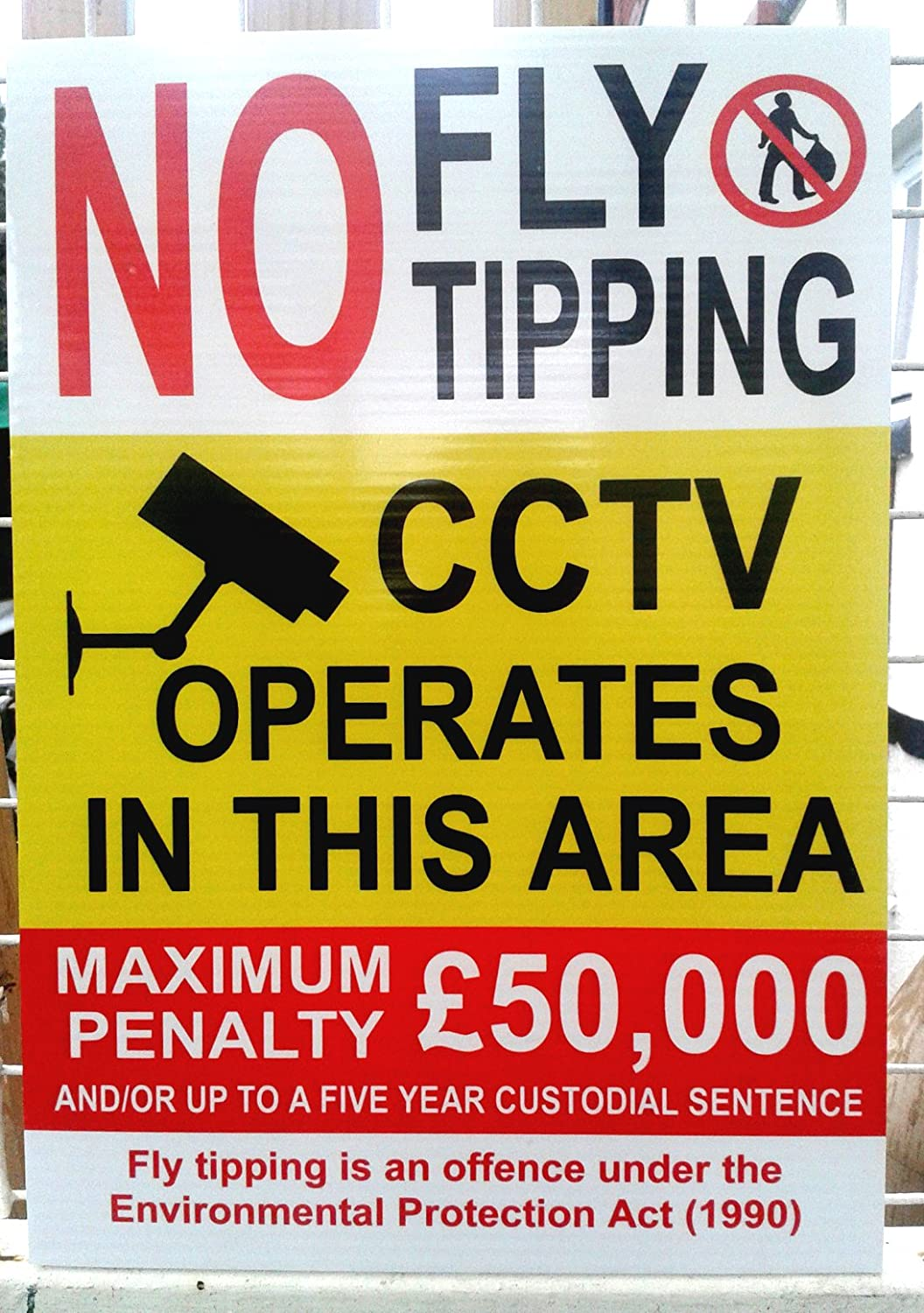 NO FLY TIPPING CORREX SIGN WEATHERPROOF 1 x A2 420mmx594mm