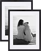 DesignOvation Gallery Wood Photo Frame Set for Customizable Wall Display, Pack of 2 14x18 matted to 11x14 Black