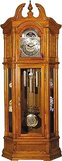 "Major-Q 9001410 84"" H Traditional Style Oak Finish Key Wound Mechanicla Movement Block Footing Grandfather Floor Clock"