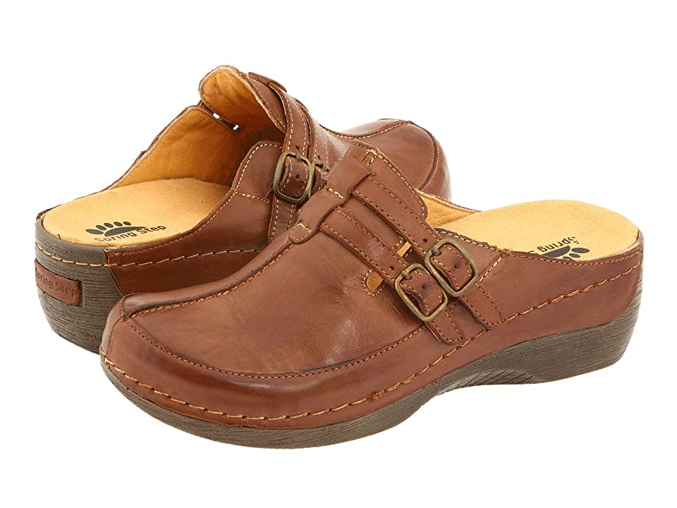 Retro Vintage Flats and Low Heel Shoes Spring Step Happy Medium Brown Womens ClogMule Shoes $79.99 AT vintagedancer.com