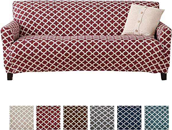 Home Fashion Designs Printed Twill Sofa Slipcover One Piece Stretch Couch Cover Strapless Sofa Cover For Living Room Brenna Collection Slipcover Sofa Burgundy