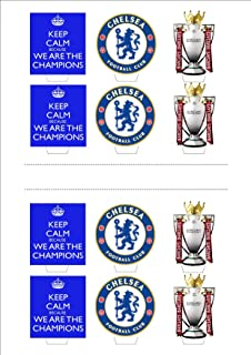 Baking Bling Chelsea Champions League Soccer Trio Pack A4 - 12 Standup Edible Premium Wafer Paper Cake Toppers Decoration 12 X 55Mm
