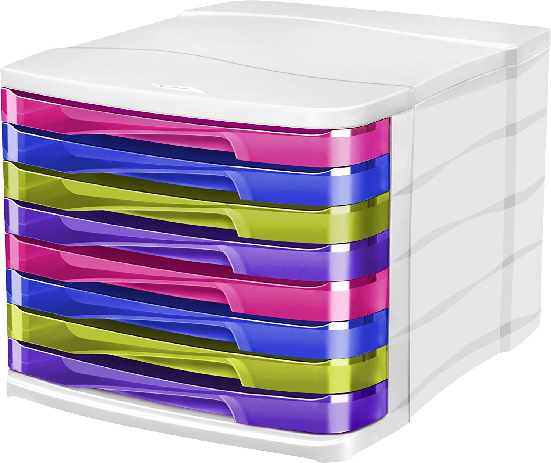 CEP 1003980811 Happy Schubladenbox 8 Schübe 398 HM, ultramarin bambugreen purplet indienpink