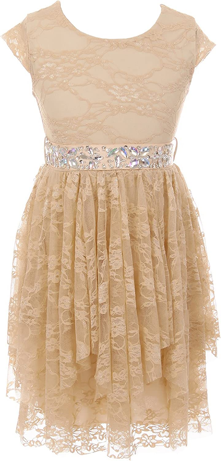 Cap Sleeve Raleigh Mall Girls Dress Floral Waistband Party Lace Classic Rhinestones F