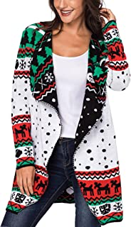 Women Christmas Reindeer Geometric Open Front Long Sleeve Cardigan