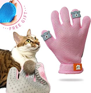 FURBB Pet Grooming Glove - Cat Dog Gentle Deshedding Brush Glove - Efficient Pet Hair Remover Massage Mitt - Enhanced Five Finger Design Perfect for Long Short Fur, Right Hand Pet Bathing