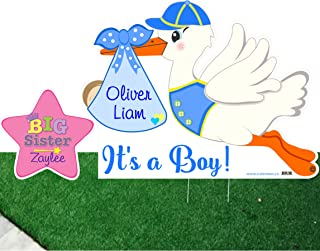 Outdoor Its a Boy Lawn Stork and Big Sister Star Sign Custom Kit - Welcome Home Newborn Baby Yard Decoration - Blue Shower Party Garden Display - Personalized Arrival Announcement - Birth Stats Sign