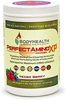 BodyHealth PerfectAmino XP Mixed Berry (60 Servings) Best Pre/Post Workout Recovery Drink, 8 Essential Amino Acids Energy Supplement with 50% BCAAs, 100% Organic, 99% Utilization for Maximum Power
